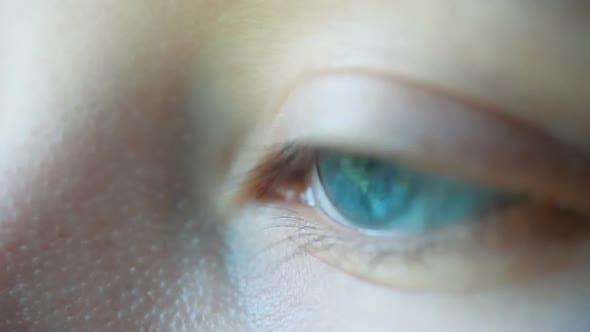 Thumbnail for Close-up Macro Shot of Female Human Blue Green Opening Eye