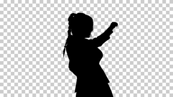 Silhouette Adorable confident young business woman dancing