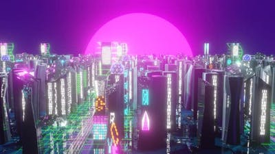 Futuristic Night City Buildings