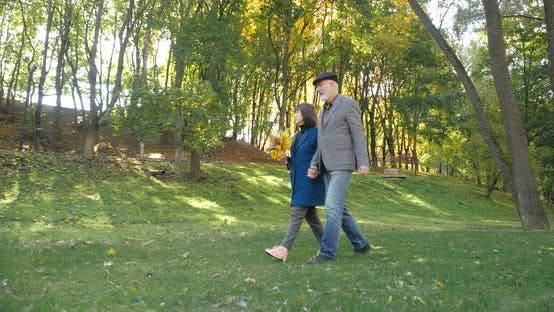 Thumbnail for Married Couple of Pensioners with a Pensive Look Look Into the Distance, Walk Along the Grass of a