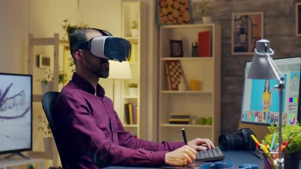 Creative Photographer with Virtual Reality Headset