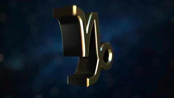 Thumbnail for Rotating Gold Capricorn Zodiac Sign