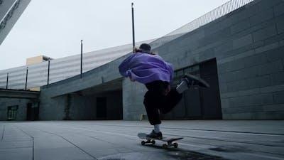 Skater Guy Riding in Street