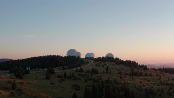 Thumbnail for Aerial Drone View, Unusual Architecture Concept. Sunrise Over Uniquely Designed Old Radar Station in