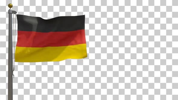 Germany Flag on Flagpole with Alpha Channel - 4K
