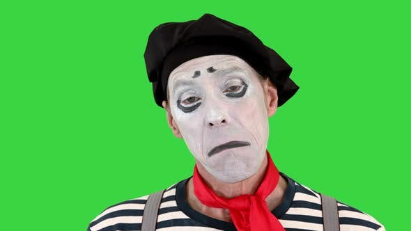 Sad Mime Looking To Camera on a Green Screen Chroma Key