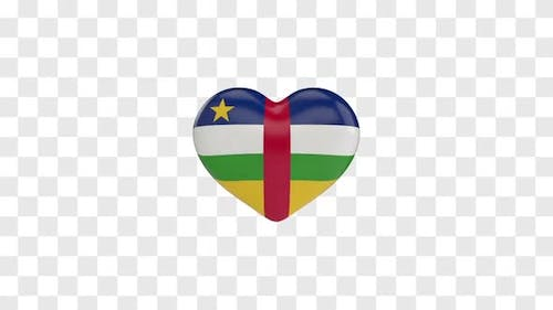 Central African Republic Flag on a Rotating 3D Heart