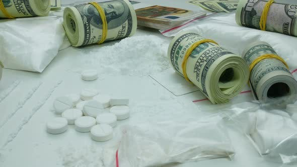 Thumbnail for Illegal Dirty Profit Of The Drug Cartel From The Sale Of Cocaine And Tablets