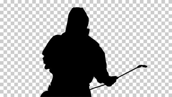 Thumbnail for Silhouette Man in a hazmat walking in, Alpha Channel