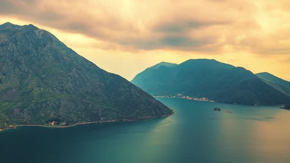 Adriatic Sea, Boka Kotor Bay, the Movement of Clouds Over the Mountains in Montenegro Time Lapse