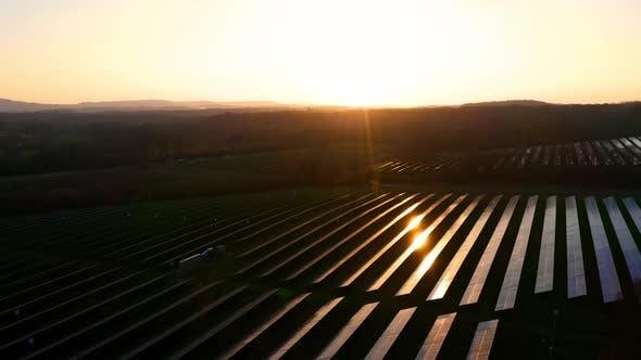 Solar Farm at Sunset Drone