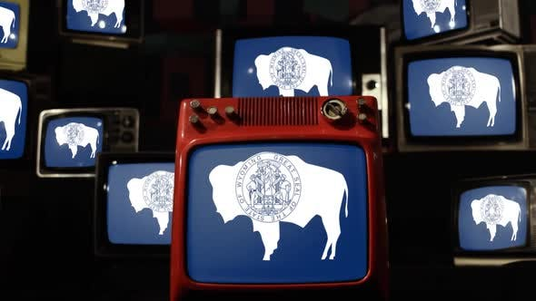 Thumbnail for The flag of the state of Wyoming and Retro TVs.