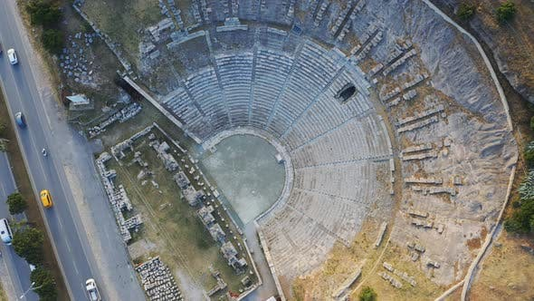 Thumbnail for View From Above Halicarnassus Ancient City. Amphitheater in the Resort Town of Bodrum. Aerial