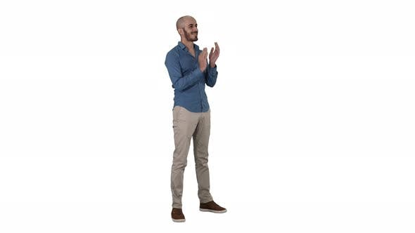Thumbnail for Handsom Arab Clapping His Hands Applauding on White Background.