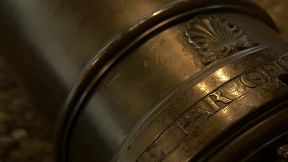 Thumbnail for Close up of letters on a cannon