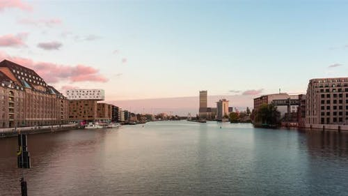 Sunset time lapse of Berlin city skyline from Oberbaumbrücke