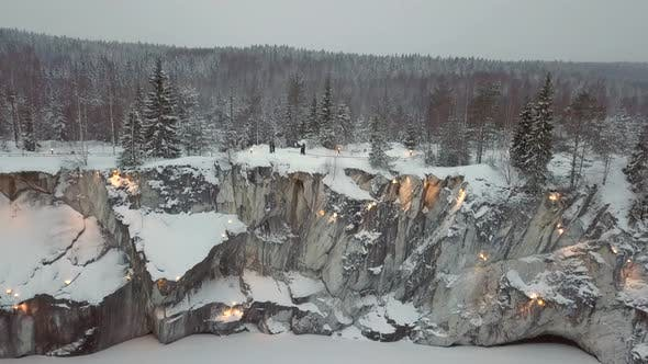 Thumbnail for Marble Kanyon, Snowy Lake, in Ruskeala, Karelia in Winter, Russia