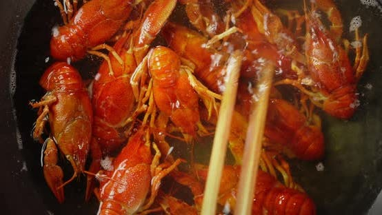 Cooking Crayfish in a Saucepan.
