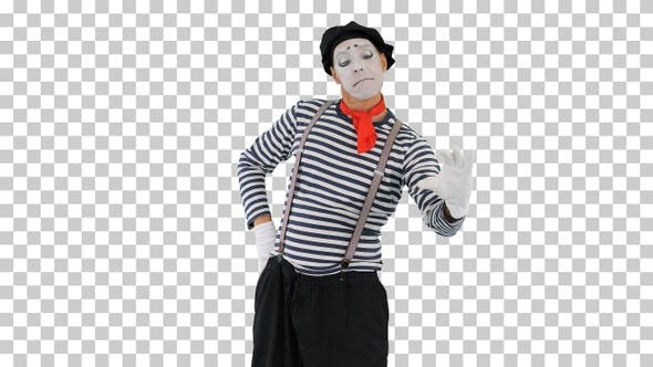Funny mime in white gloves making selfie photos, Alpha Channel
