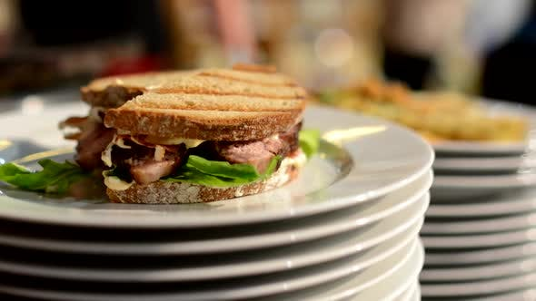Thumbnail for Meals (Food: Sandwich) Ready for Serve - Chef Prepares Food