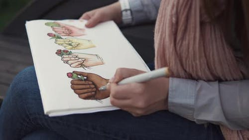 Female Artist Drawing Indoor.