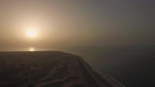 Coast with sand dunes at sunset, Gran Canaria