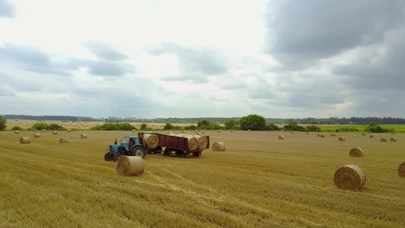 Thumbnail for Tractor Loading Bales of Hay