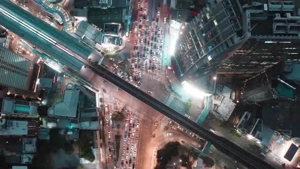Aerial View of Asoke Intersection and Sky Train Station in Bangkok Thailand