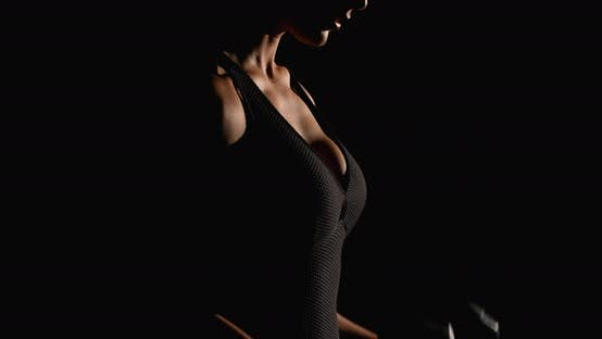 Cover Image for Sexy Woman Working Out Dumbbells Black Background Sport Gym Fitness