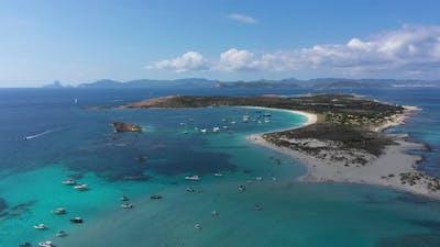 Aerial View Espalmador Island Sunset Ibiza