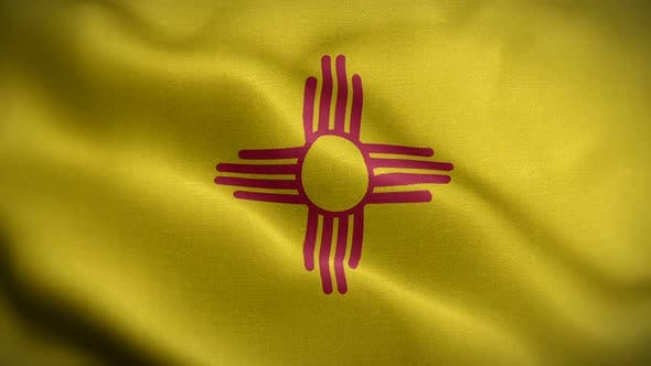 New Mexico State Flag Blowing In Wind
