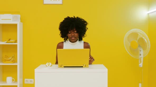 Black Woman Is Working Creative Office