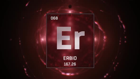 Erbium as Element 68 of the Periodic Table on Red Background in Spanish Language