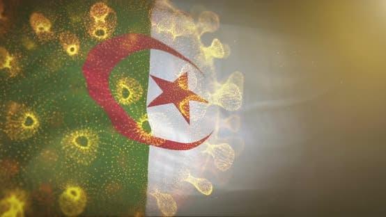 Thumbnail for Algeria Flag With Corona Virus Bacteria 4K