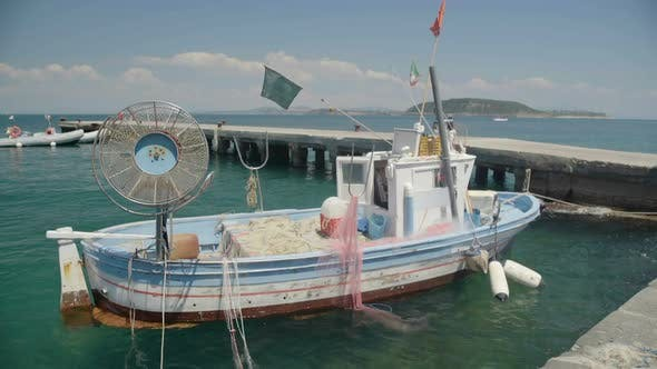 Old Fishing Vessel with Drift Nets Parked Near Pier and Floating on Waves, Hobby - product preview 0