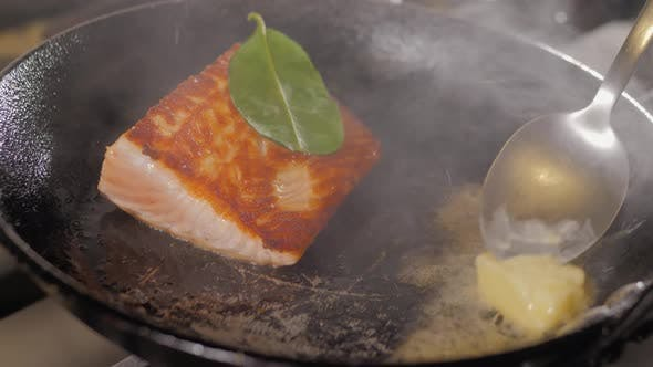Thumbnail for Grilled Salmon Fish with Various Vegetables on Pan on the Flaming Grill
