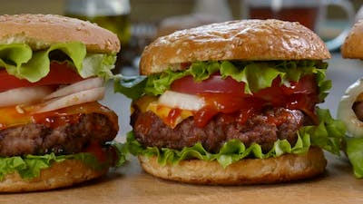 Beef Burgers on the Kitchen Table