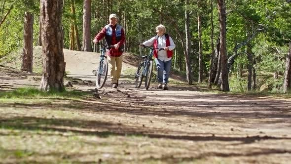 Thumbnail for Active Pensioners Walking with Bicycles in Forest