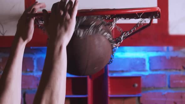 Thumbnail for Young Man Training Basketball Skills and His Slam Dunk on the Playground