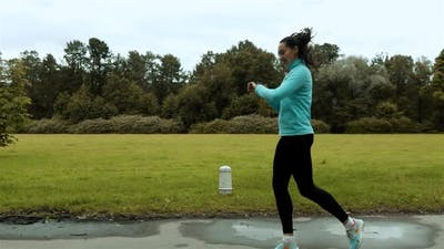 Woman Runner Using Smart Watch Fitness Smart Watch
