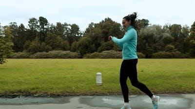 Woman Runner Using Smart Watch Fitness Smart Watch