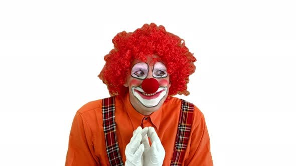 Cunning Clown Is Up To Something Having a Plan on White Background