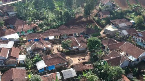 Aerial Clip of a small village area in Indonesia