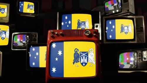 Flags of the Australian Capital Territory on Retro TVs.