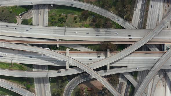 Cover Image for AERIAL: Spectacular Overhead Follow Shot of Judge Pregerson Highway Showing Multiple Roads, Bridges
