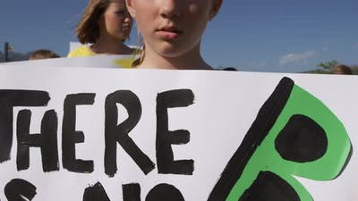Girl with climate change sign in a protest