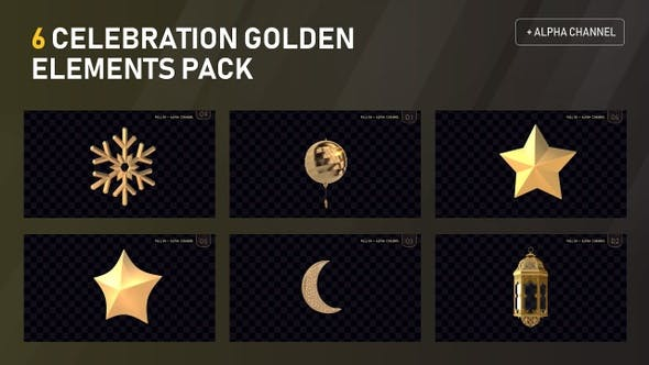 Golden Celebrate 3d Elements