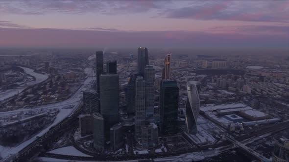 Thumbnail for Puesta del sol cielo Noche luz de Ciudad de Moscú anillo de tráfico Aéreo Carretera