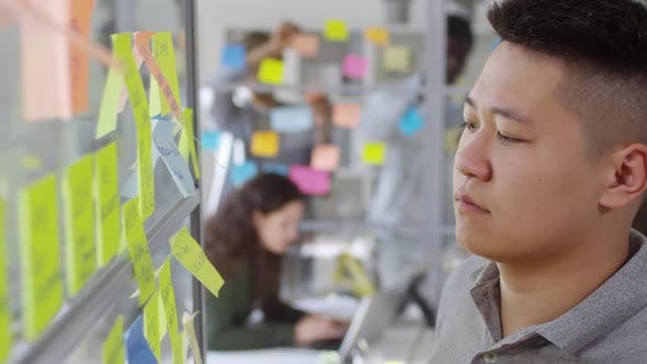 Cover Image for Young Asian Man Taking off adhesive Notes from Glass Wall in Office