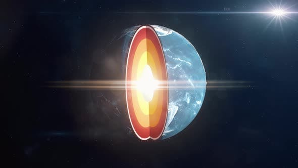 Planet Earth Opening to Reveal the Crust, Mantle and Core